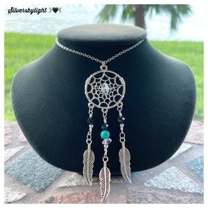 Herkimer diamonds turquoise dream catcher necklace